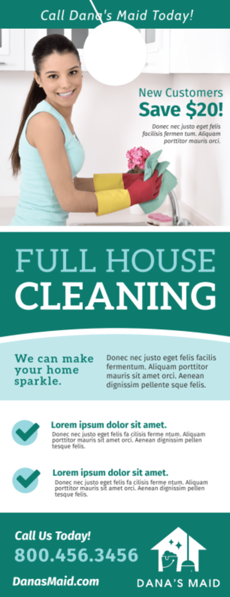 Full House Cleaning Door Hanger Template Preview 2