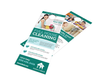 Full House Cleaning Door Hanger Template preview