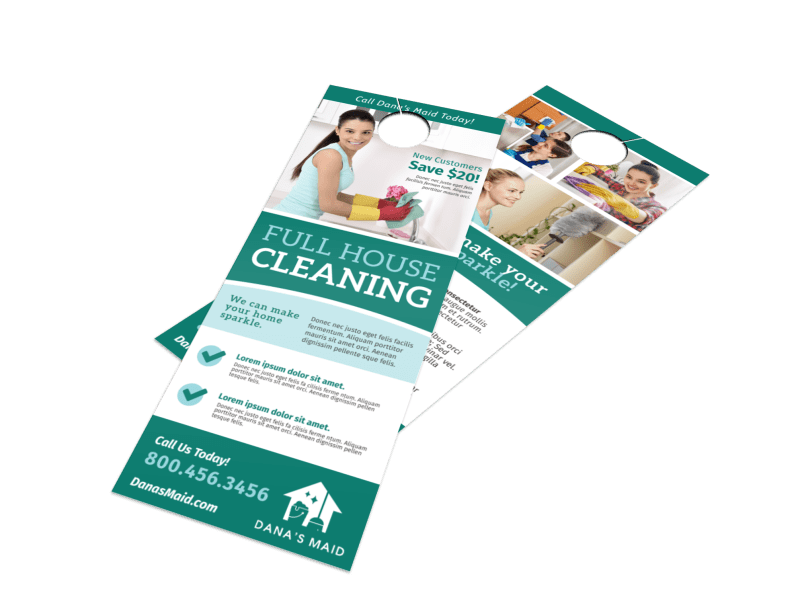 Full House Cleaning Door Hanger Template Preview 1