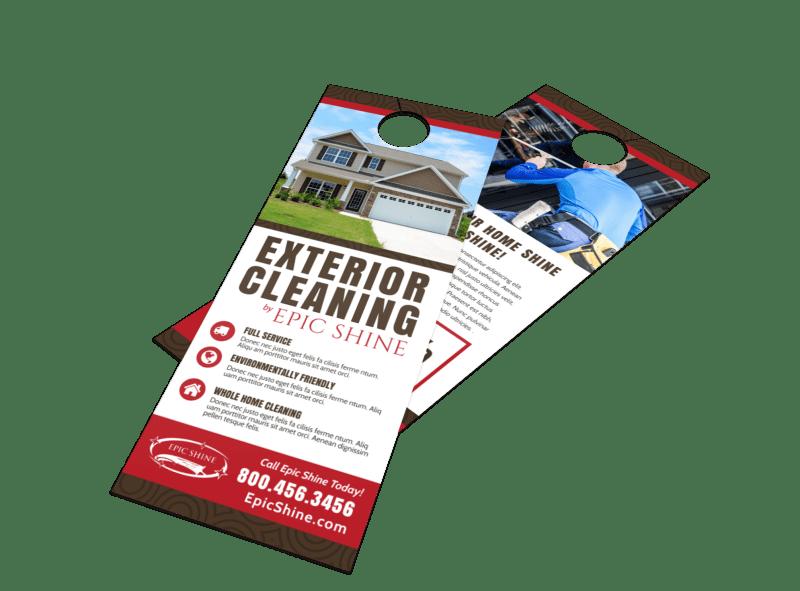 Exterior Cleaning Door Hanger Template Preview 1