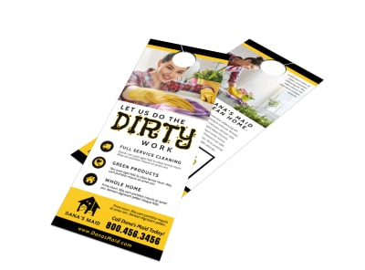Dirty Cleaning Door Hanger Template preview