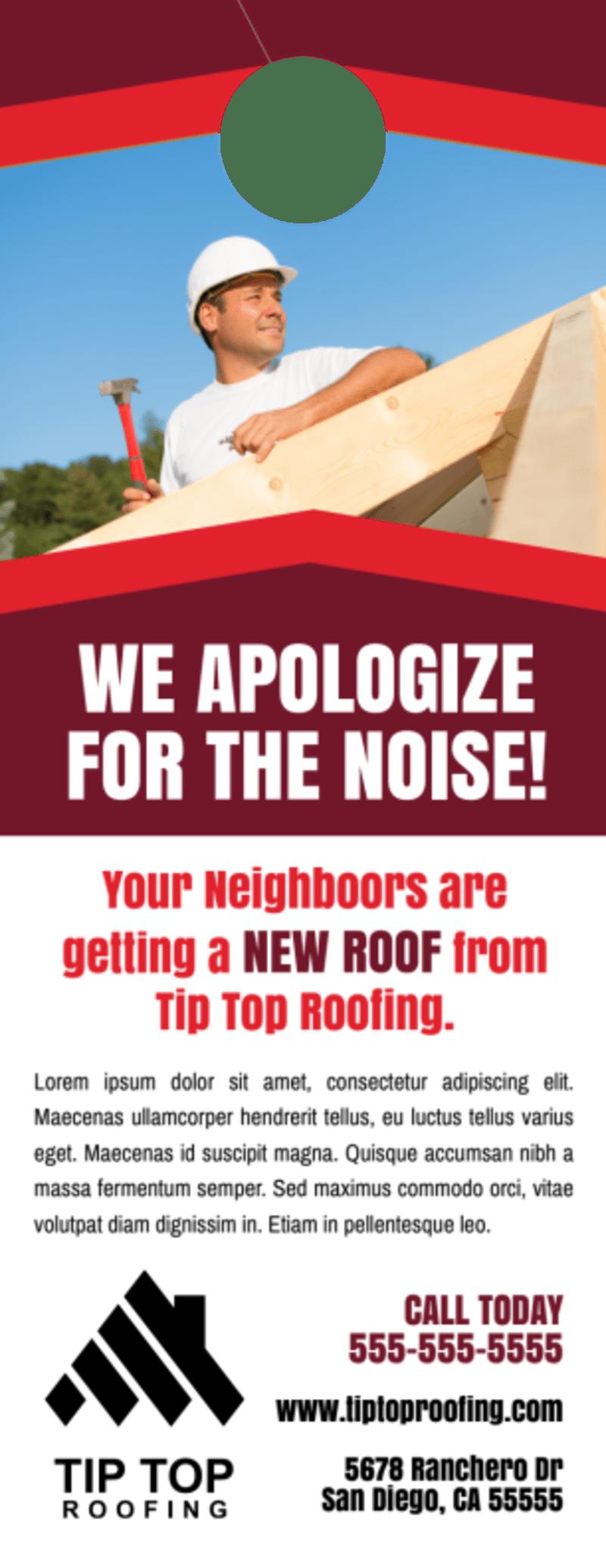 Friendly Roofing Door Hanger Template Preview 2