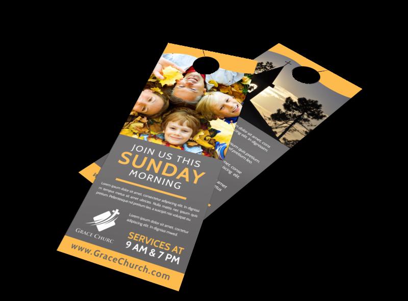 Sunday Morning Church Door Hanger Template Preview 1