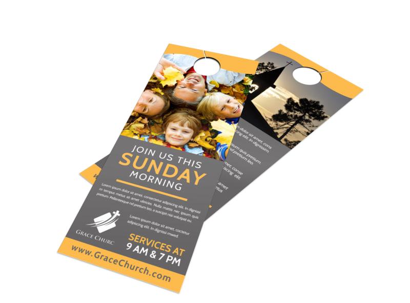 Sunday Morning Church Door Hanger Template Preview 4