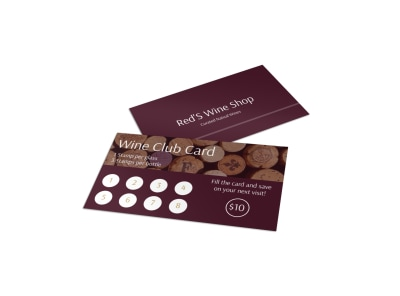 Wine Club Loyalty Punch Card Template preview
