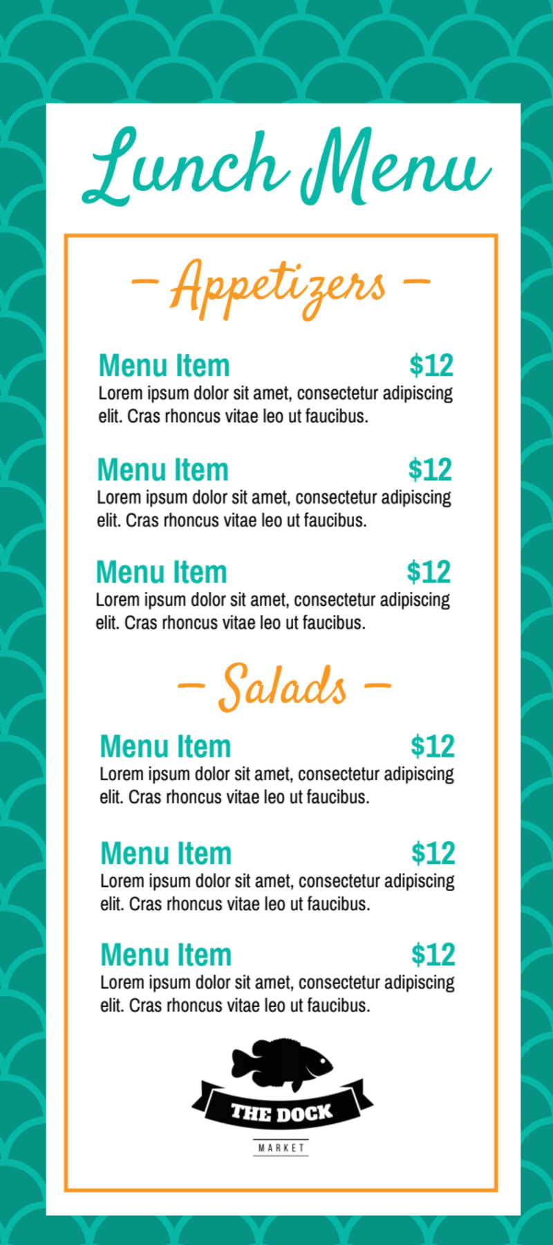Teal Lunch Menu Template Preview 2