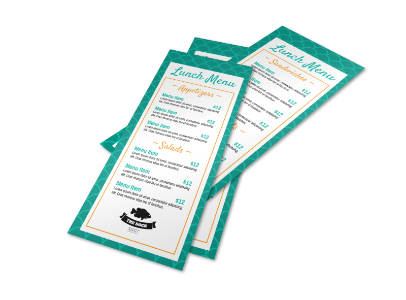 Teal Lunch Menu Template Preview 1