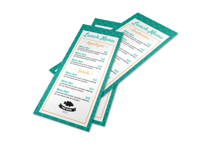 Teal Lunch Menu Template Preview 4