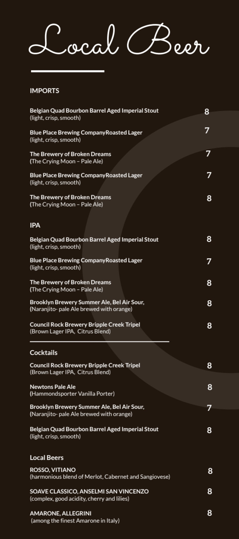 Local Drink Menu Template Preview 2