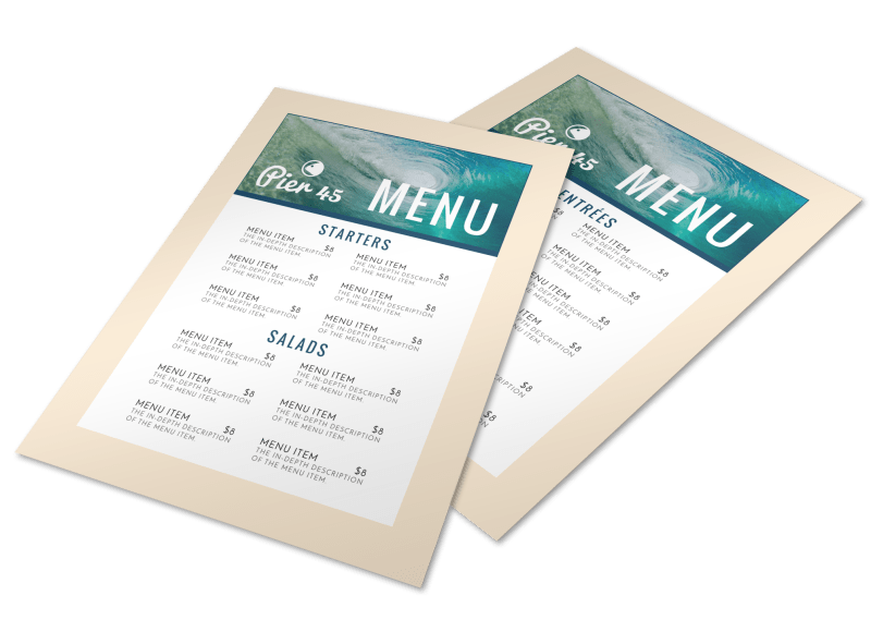 Ocean Restaurant Menu Template Preview 1