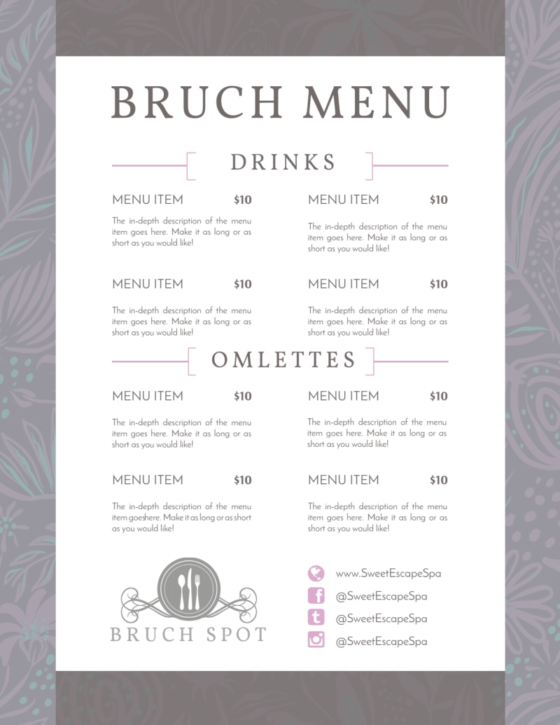 Grey Lunch Menu Template Preview 2