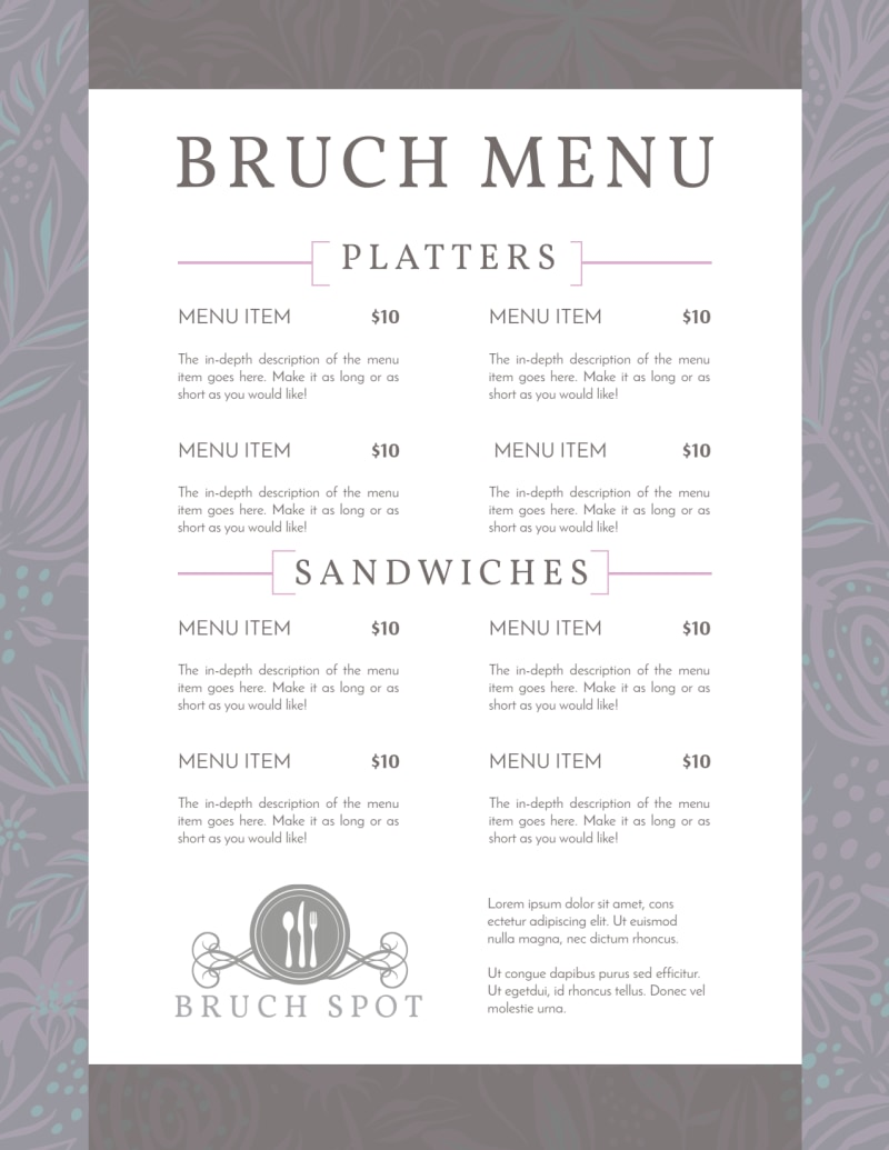 Grey Lunch Menu Template Preview 3