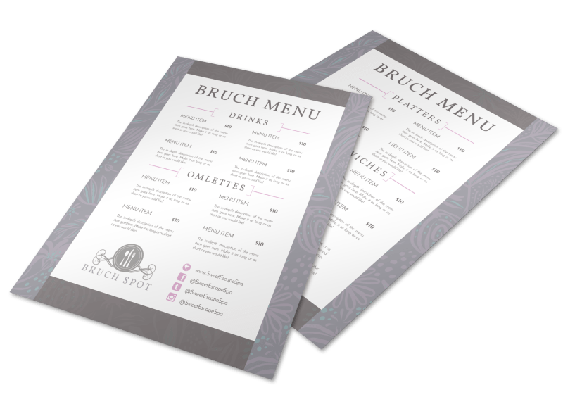 Grey Lunch Menu Template Preview 1