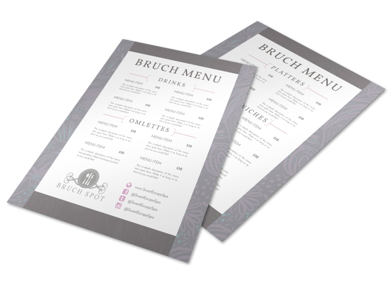 Grey Lunch Menu Template Preview 4