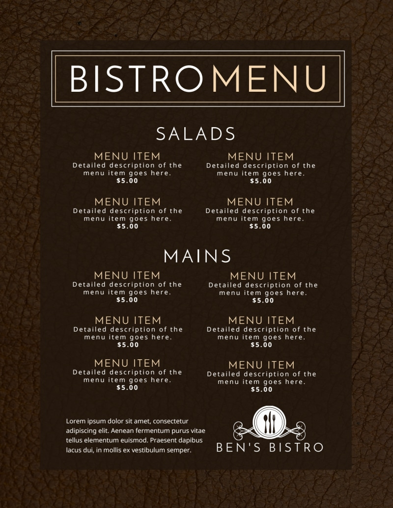 Bistro Menu Template Preview 3