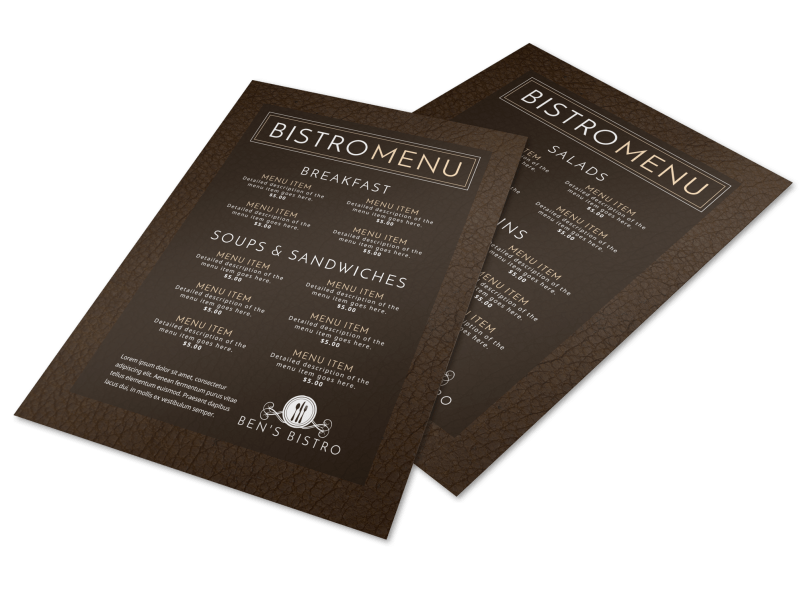 Bistro Menu Template Preview 1