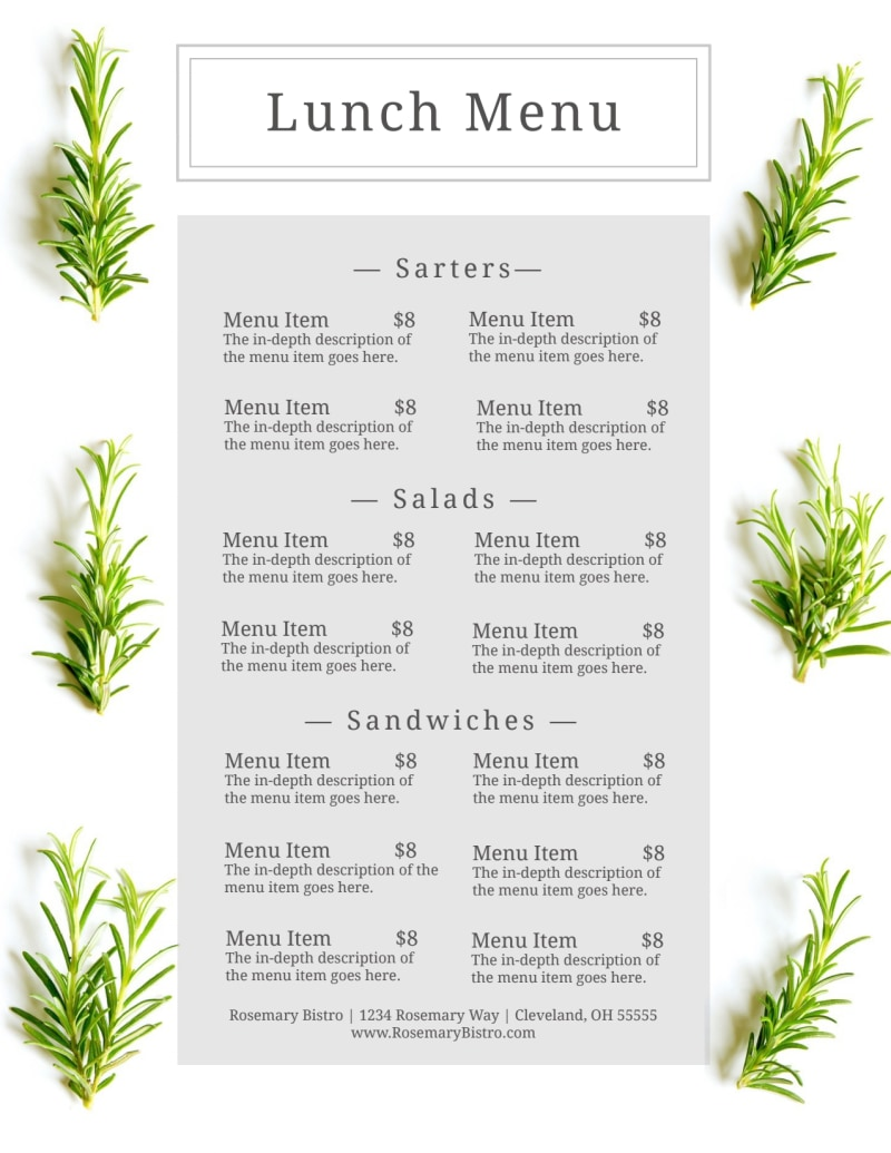 Fresh Lunch Menu Template Preview 2