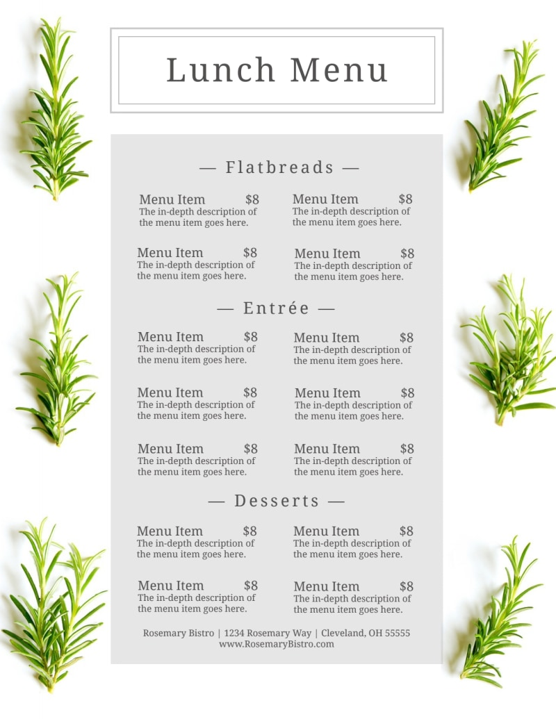 Fresh Lunch Menu Template Preview 3