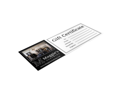 Clothing Store Gift Certificate Template preview