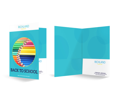 Colorful Back To School Bi-Fold Pocket Folder Template preview