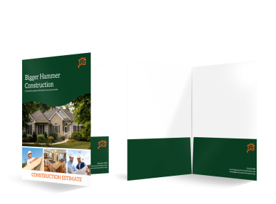 Construction Estimate Bi-Fold Pocket Folder Template preview