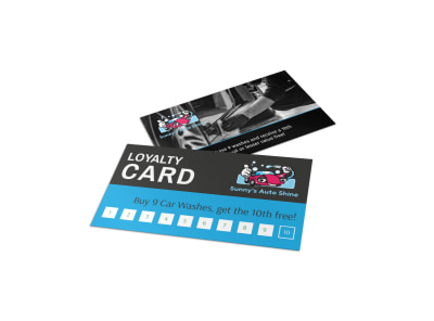 Classic Car Wash Loyalty Card Template preview