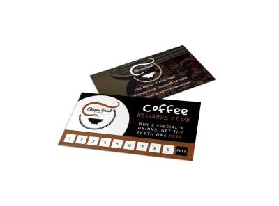 Coffee Rewards Club Loyalty Card Template  preview