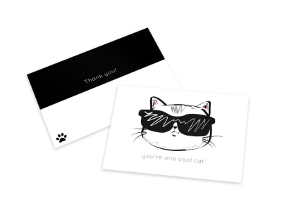 Cat Thank You Card Template preview