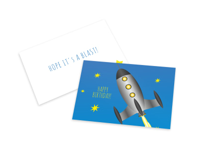 Spaceship Birthday Card Template preview