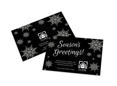 Black & White Season's Greetings Card Template preview