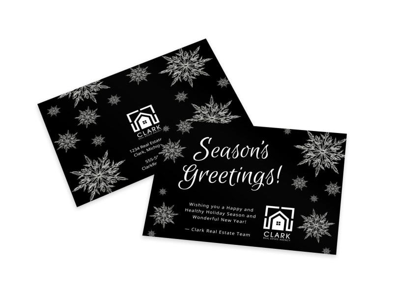 Black & White Season's Greetings Card Template ...