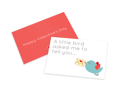 Valentine's Day Bird Card Template preview