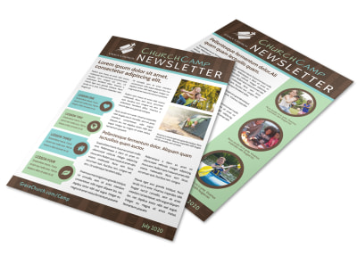 Cool Church Camp Newsletter Template preview