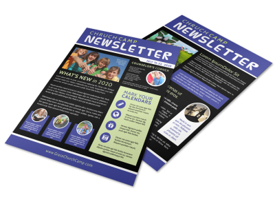 Fun Church Camp Newsletter Template preview