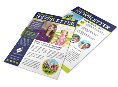 Awesome Church Camp Newsletter Template preview