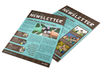 Woods Summer Camp Newsletter Template preview