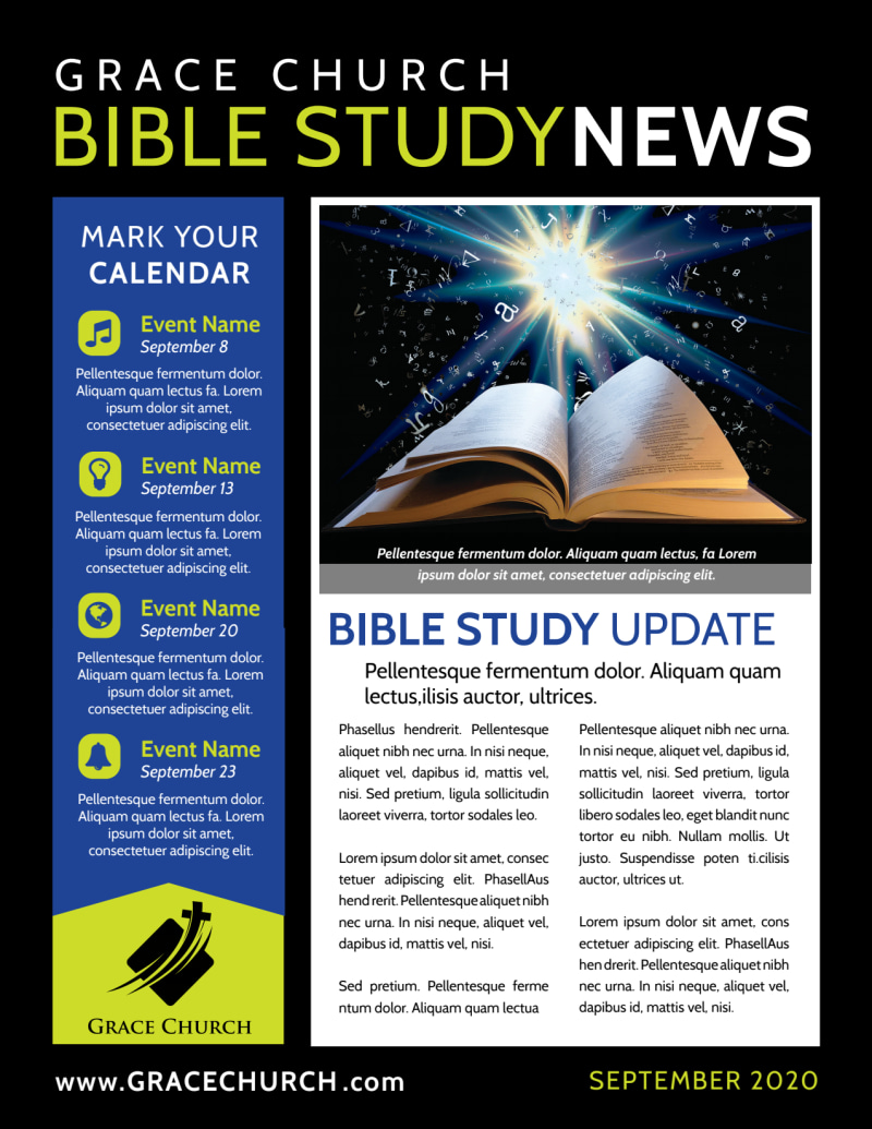 Church Bible Study Newsletter Template Preview 2
