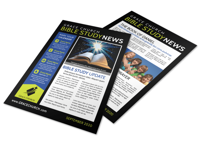 Church Bible Study Newsletter Template Preview 1