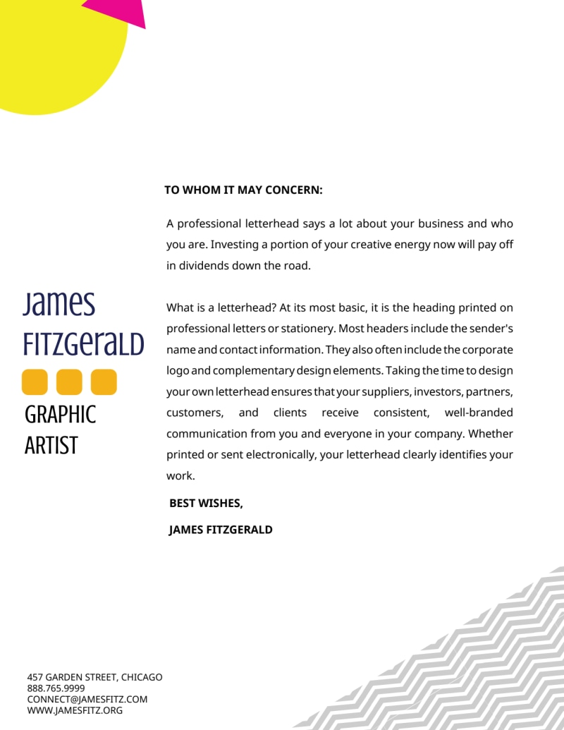 Fun Artist Letterhead Template Preview 2