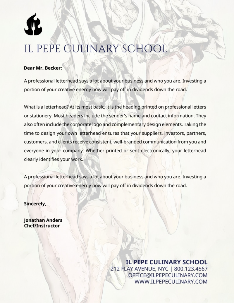 Culinary Letterhead Template Preview 2
