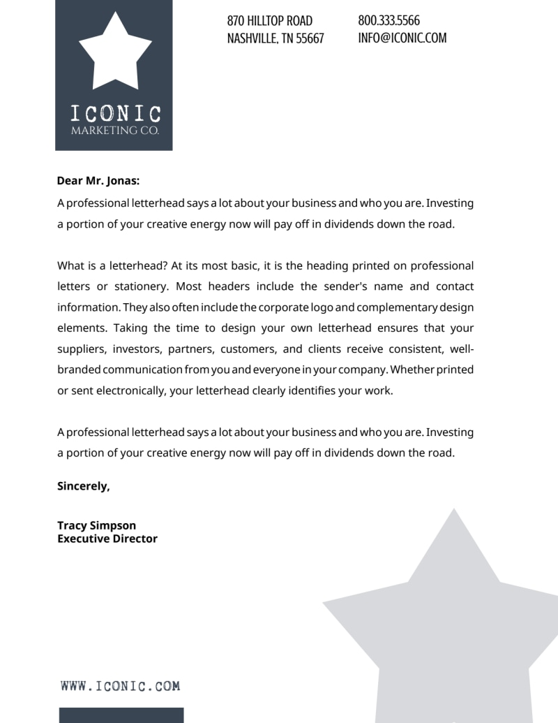 Star Letterhead Template Preview 2