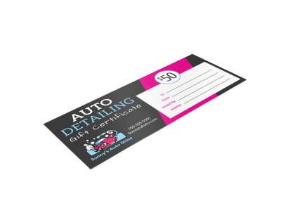 Auto Detailing Gift Certificate Template czhpsv173l preview