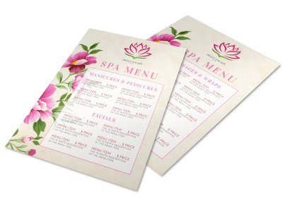 Spa Menu Template h8atryhaam preview
