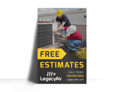 Free Estimates HVAC Poster Template jlhs5pvx6i preview