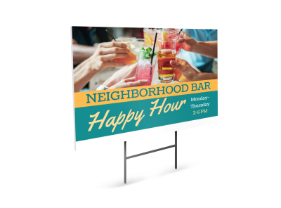 Happy Hour Restaurant Yard Sign Template 7qcnmcryfh preview
