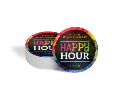 Happy Hour Bar Coaster Template imms7mwtvg preview