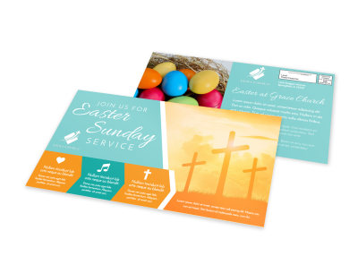 Easter Church Service EDDM Postcard Template ire9y3cbez preview