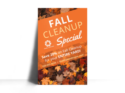Fall Cleanup Lawn Care Poster Template i83q3kerq8 preview