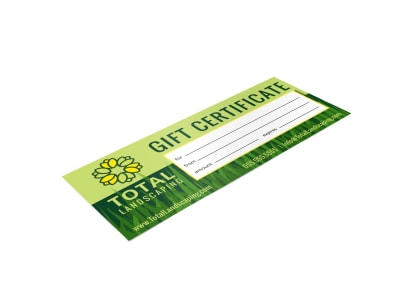 Landscaping Gift Certificate Template jxmdm1tbn9 preview