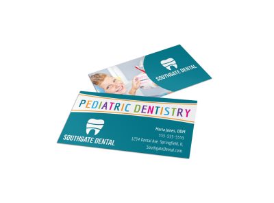 Pediatric Dental Business Card Template jj0ox07w8q preview